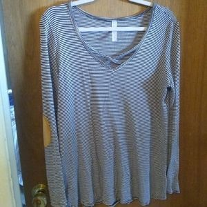 Women's striped blouse with elbow patch size S
